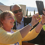 March 18, 2016, Palm Springs, CA:<br /> Former player James Blake poses for a selfie photograph with a fan during the 2016 BNP Paribas Open at the Indian Wells Tennis Garden in Indian Wells, California Friday, March 18, 2016.<br /> (Photos by Billie Weiss/BNP Paribas Open)