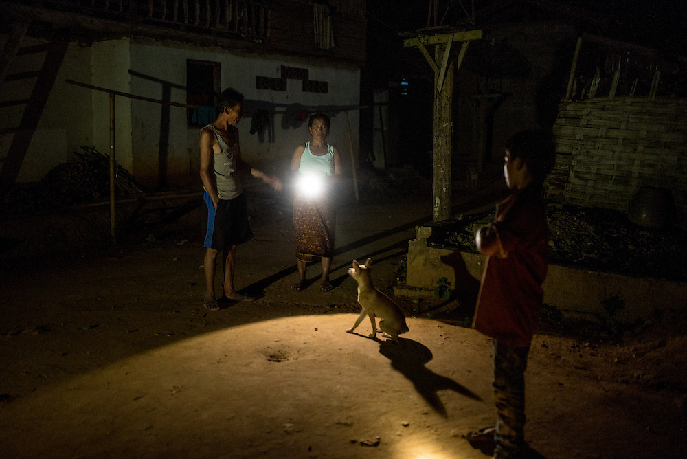 In the village of Khoc Kham there are no street lights and villagers must use flashlights or small LED bulbs powered by water turbines in orde to see.