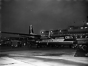 """19/11/1958<br /> 11/19/1958<br /> 19 November 1958 <br /> Fokker F27 Friendships arrive at Dublin Airport. Aer Lingus receives two aircraft. One of the new aircraft """"Feargal"""" being refuelled by shell tankers in front of the terminal at Dublin Airport."""