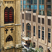 The Pinnacle with 4th Presbytarian Church - Lucien LaGrange Architects - Chicago photography by Wayne Cable.