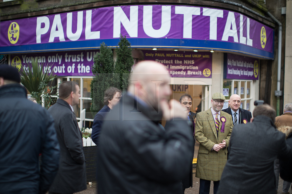 © Licensed to London News Pictures . 28/01/2017 . Stoke-on-Trent , UK . PAUL NUTTALL outside the shop . UKIP formally launch their campaign in the by-election in the constituency of Stoke-on-Trent Central , at their new campaign shop at 1 Piccadilly in Stoke , with candidate - and party leader - Paul Nuttall . The seat was vacated when Tristram Hunt resigned . Photo credit : Joel Goodman/LNP