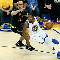 12 June 2017: Golden State Warriors forward Kevin Durant (35) drives past Cleveland Cavaliers forward Richard Jefferson (24) during the Golden State Warriors 129-120 victory over the Cleveland Cavaliers, in game 5 of the 2017 NBA Finals, at the Oracle Arena, Oakland, California, USA.