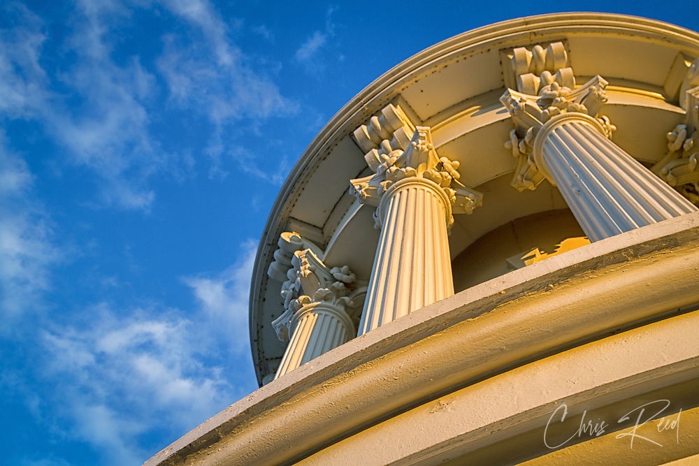 USA, Washington, DC. Columns atop the dome of the U.S. Capitol.