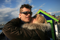 Marcel Rodman and his girlfriend Veronika Potocnik at whale watching boat, during IIHF WC 2008 in Halifax,  on May 07, 2008, sea at Halifax, Nova Scotia, Canada. (Photo by Vid Ponikvar / Sportal Images)