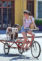 Dogs go for a ride on a custom flatbed bicycle through the Meatpacking District in Manhattan