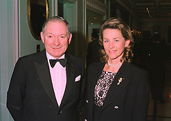 MR & MRS BARRY HILLS he is the trainer, at a dinner in London on 6th January 1998.MEJ 9