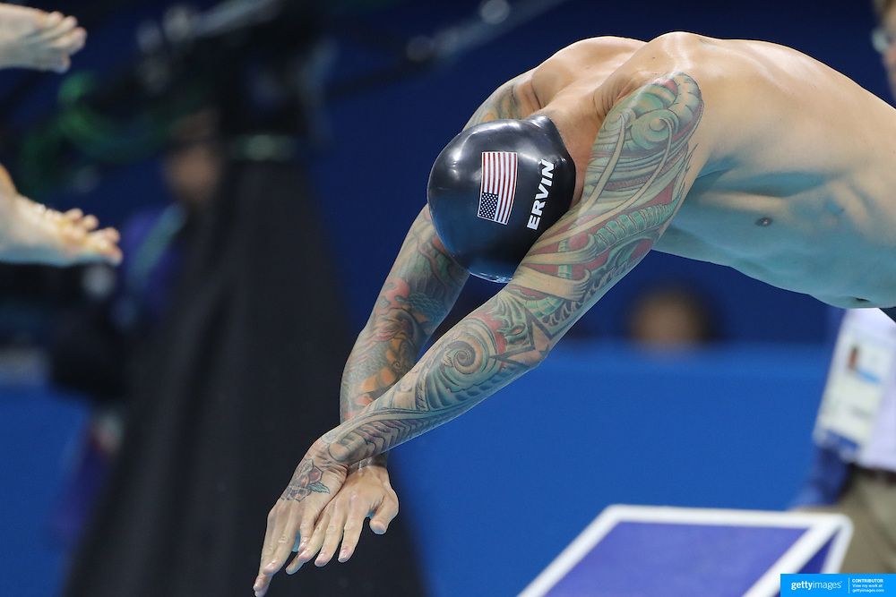 Swimming - Olympics: Day 6  Anthony Ervin of the United States  at the start of the Men's 50m Freestyle Semifinal during the swimming competition at the Olympic Aquatics Stadium August 11, 2016 in Rio de Janeiro, Brazil. (Photo by Tim Clayton/Corbis via Getty Images)
