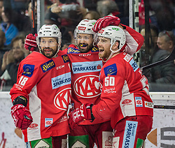 05.04.2019, Stadthalle, Klagenfurt, AUT, EBEL, EC KAC vs Moser Medical Graz 99ers, Halbfinale, 4. Spiel, im Bild Thomas KOCH (EC KAC, #18), Andrew KOZEK (EC KAC, #10), Matt NEAL (EC KAC, #50) // during the Erste Bank Icehockey 4th semifinal match between EC KAC and Moser Medical Graz 99ers at the Stadthalle in Klagenfurt, Austria on 2019/04/05. EXPA Pictures © 2019, PhotoCredit: EXPA/ Gert Steinthaler