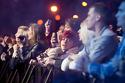 Fans at  Meadowhalls Christmas lights switch on concert in Sheffield on Thursday evening 3 November 2011. Image © Paul David Drabble