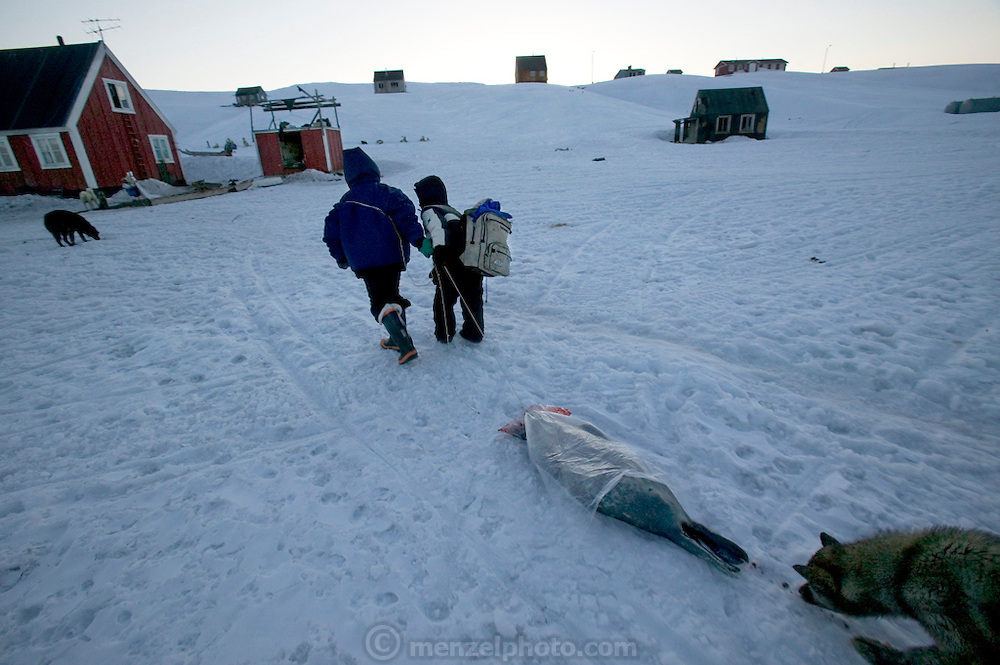 While Emil Madsen stows away the gear and winches the boat ashore, his nephew Julian and son Abraham drag the freshly killed seal up to the house, followed by inquisitive dogs licking up the trail of blood at Cap Hope  village, Greenland.  (Emil Madsen is featured in the book What I Eat: Around the World in 80 Diets.) Although the boys are almost staggering with tiredness (it is 1:30 in the morning) they haul the animal inside, leaving it in the hallway by the bathroom overnight.