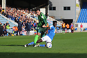 AFC Wimbledon striker Tom Elliott (9) and Peterborough United midfielder Leo Da-Silva-Lopes (18) during the EFL Sky Bet League 1 match between Peterborough United and AFC Wimbledon at ABAX Stadium, London Road, Peterborough, England on 22 October 2016. Photo by Stuart Butcher.