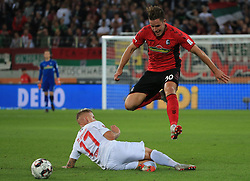 30.09.2018, 1.BL, 1. Bundesliga, FC Augsburg vs SC Freiburg, WWK Arena Augsburg, Fussball, Sport , im Bild:...Jonathan Schmid (FC Augsburg) vs Christian Guenter (SC Freiburg)..DFL REGULATIONS PROHIBIT ANY USE OF PHOTOGRAPHS AS IMAGE SEQUENCES AND / OR QUASI VIDEO...Copyright: Philippe Ruiz..Tel: 089 745 82 22.Handy: 0177 29 39 408.e-Mail: philippe_ruiz@gmx.de. (Credit Image: © Philippe Ruiz/Xinhua via ZUMA Wire)