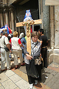 Israel, Jerusalem Old City, pilgrims procession, Good Friday at the Via Dolorosa,  Easter 2006