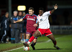 STEVENAGE, ENGLAND - Saturday, December 17, 2011: Tranmere Rovers' Danny Holmes in action against Stevenage's Don Cowan during the Football League One match at Broadhall Way. (Pic by David Rawcliffe/Propaganda)