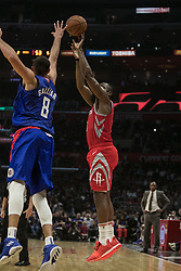 October 21, 2018 - Los Angeles, California, U.S - Danilo Gallinari #8 of the Los Angeles Clippers tries to block James Harden #13 of the Houston Rockets during their NBA game on Sunday October 21, 2018 at the Staples Center in Los Angeles, California. (Credit Image: © Prensa Internacional via ZUMA Wire)