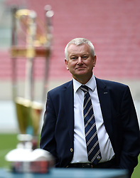 Steve Lansdown majority shareholder of Bristol Sport, looks at the Greene Kind IPA championship trophy prior to the match - Mandatory byline: Joe Meredith/JMP - 25/05/2016 - RUGBY UNION - Ashton Gate Stadium - Bristol, England - Bristol Rugby v Doncaster Knights - Greene King IPA Championship Play Off FINAL 2nd Leg.