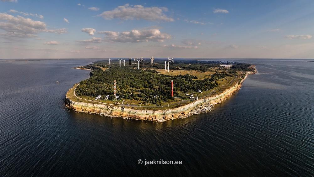 Pakri peninsula, limestone clint outcrop in Estonia. Cliff, steep bank, lighthouse at Baltic sea.