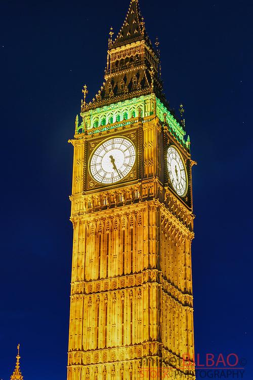 Big Ben at dusk. London, England, United kingdom, Europe.