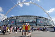 Arsenal fans in front of the stadium during the The FA Cup final match between Arsenal and Chelsea at Wembley Stadium, London, England on 27 May 2017. Photo by Shane Healey.