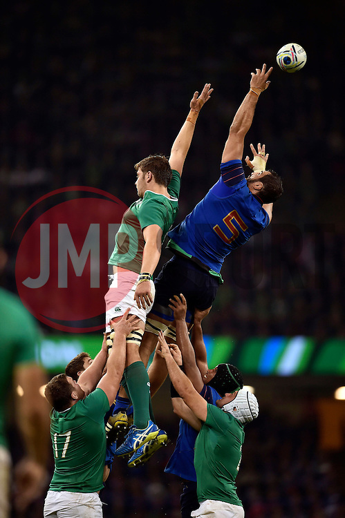 Yoann Maestri of France misses the ball at a lineout - Mandatory byline: Patrick Khachfe/JMP - 07966 386802 - 11/10/2015 - RUGBY UNION - Millennium Stadium - Cardiff, Wales - France v Ireland - Rugby World Cup 2015 Pool D.