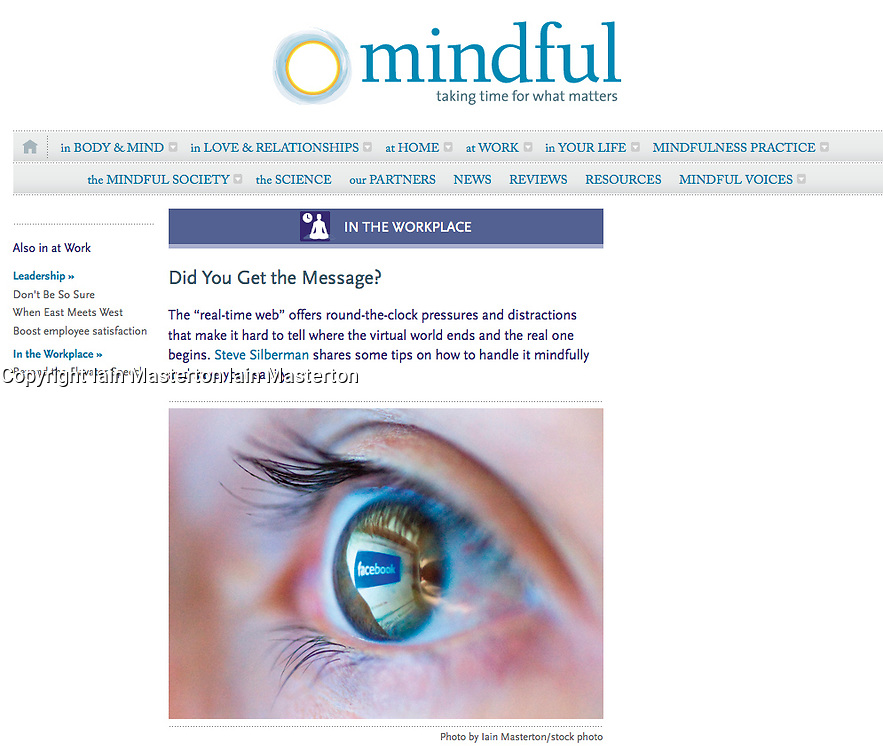 Screenshot from Mindful Magazine; Facebook logo