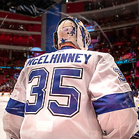 2019-11-08 | Stockholm, Sweden : Tampas Curtis McElhinney (35) during the<br /> NHL Global Series at Globe Arena (Photo by : Daniel Carlstedt | Swe Press Photo