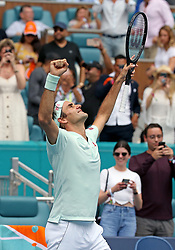Roger Federer, of Switzerland, celebrates after defeating John Isner, of the United States, 6-1, 6-4 during the final of the Miami Open tennis tournament at Hard Rock Stadium on Sunday, March 31, 2019, in Miami Gardens, Fla. Photo by David Santiago/Miami Herald/TNS/ABACARESS.COM