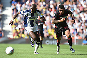 West Bromwich Albion defender Kieran Gibbs (3) and Bolton Wanderers striker Josh Magennis (28) race for the ball during the EFL Sky Bet Championship match between West Bromwich Albion and Bolton Wanderers at The Hawthorns, West Bromwich, England on 4 August 2018. Picture by Dennis Goodwin.
