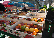 """Rennes, FRANCE. General View GV. Rennes weekly regional market. Brittany,<br /> <br /> """"MixedTrays of varies coloured Tomatoes on Display """", sold from stalls in the open and covered market  <br /> <br /> Saturday  26/04/2014 <br /> <br /> © Peter SPURRIER, <br /> <br /> NIKON CORPORATION  NIKON D700  f10  1/125sec  24mm  5.4MB"""