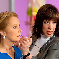 SPECIAL TO THE PALM BEACH POST---Adrienne Arpel, right, applies makeup to a model during a live show for Arpel's  Signature A cosmetics on the Home Shopping Network onFriday, March 18, 2005 in St. Petersburg, Fla. (AP Photo/Scott Audette)