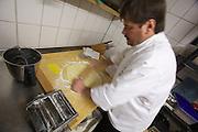 "Restaurant Ochsen zu Diefenbach. Owner Georg ""Schorsch"" Barta preparing Maultaschen (Swabian Dumplings)."