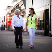 German Grand Prix<br /> <br /> Bernie Ecclestone and his wife Fabiana Flosi at The Nurburgring for the 2013 German Grand Prix. <br /> ©Darren Heath/exclusivepix