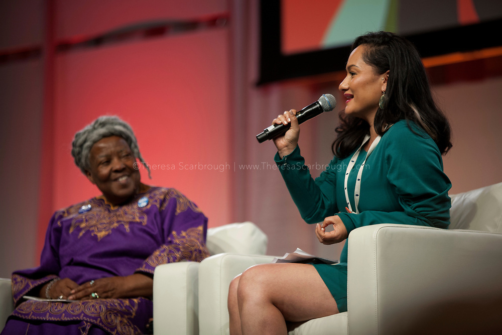 Detroit, Michigan, USA. 28th Oct, 2017. Carmen Perez (right) speaks at the Sojourner Truth Lunch as Lila Cabbil (left) looks on, during the Women's Convention held at the Cobo Center, Detroit Michigan, Saturday, October 28, 2017