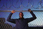 (1992) Terrance Robinson, shown at the Bridgeport Correctional Center, was accused of and arrested for rape in 1988. He served eight months in jail but was acquitted when DNA fingerprinting proved his innocence. MODEL RELEASED.
