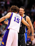 Mar. 13, 2011; Phoenix, AZ, USA; Orlando Magic forward Hedo Turkoglu (15) reacts on the court against the Phoenix Suns center Robin Lopez (15) at the US Airways Center. The Magic defeated the Suns 111-88. Mandatory Credit: Jennifer Stewart-US PRESSWIRE