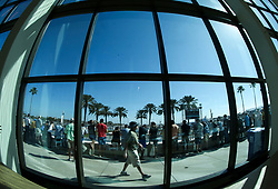 March 9, 2019 - St. Petersburg, Florida, U.S. - DIRK SHADD   |   Times  .Pictured through the iconic windows of the Mahaffey Theater, fans watch from the observation during an IndyCar practice session at the Grand Prix of St. Petersburg in St. Petersburg on Saturday, March 9, 2019. (Credit Image: © Dirk Shadd/Tampa Bay Times via ZUMA Wire)