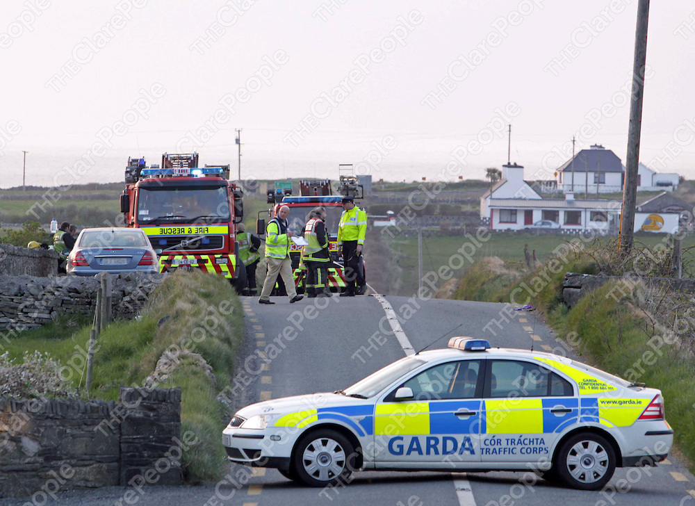 13/04/10 Garda&iacute; and fire crews at the scene of the fatal  collision near Miltown Malbay in which local man Mattie McInerney lost his life.<br />