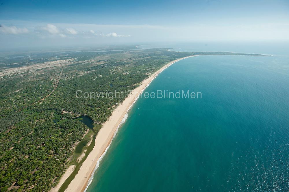 Aerial view over the East Coast bays of Pasekudah and Kalkudah.