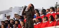 """Beyonce performs at the """"We Are One""""  The Obama Inaugural Celebration at the Lincoln Memorial on January 18, 2009. Photo by Dennis Brack"""