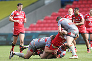 Mickael Simon & Julian Bousquet for Catalan Dragons stop Salford during the Betfred Super League match between Salford Red Devils and Catalan Dragons at the AJ Bell Stadium, Eccles, United Kingdom on 30 March 2018. Picture by George Franks.