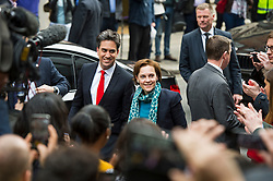 © London News Pictures. 07/05/2015. Labour Party leader ED MILIBAND and his wife JUSTINE MILIBAND arrive at Labour Party headquarters in London after a heavy defeat in the general election. Photo credit: Ben Cawthra/LNP