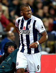 Jose Salomon Rondon of West Bromwich Albion squirms in pain and holds his back - Mandatory by-line: Robbie Stephenson/JMP - 06/11/2016 - FOOTBALL - King Power Stadium - Leicester, England - Leicester City v West Bromwich Albion - Premier League