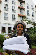 Myriam age 22 working at the Arusha hotel. She went through hotel management training at Billt College. She is now working in Housekeeping at the Arusha Hotel, a 3 star high-end hotel.  Mkombozi funded the training and have supported her throughout.