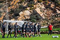 ESTEPONA - 05-01-2016, AZ in Spanje 5 januari, AZ speler Alireza Jahanbakhsh, AZ speler Thom Haye, AZ speler Markus Henriksen, AZ speler Ben Rienstra, AZ trainer John van den Brom
