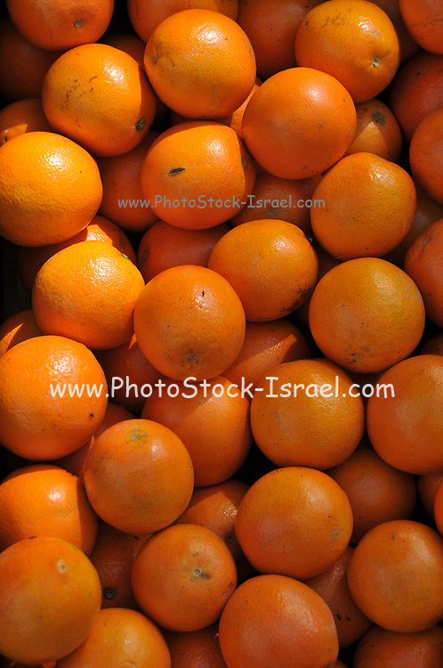 fruit stall in the market a stack of fresh Mandarins