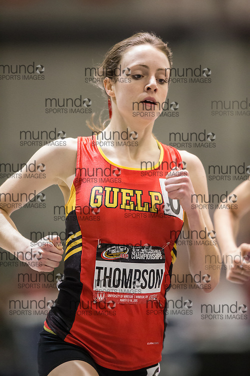 Windsor, Ontario ---2015-03-14--- Carise Thompson of Guelph competes in the 1500m at the 2015 CIS Track and Field Championships in Windsor, Ontario, March 14, 2015.<br /> GEOFF ROBINS/ Mundo Sport Images