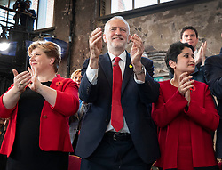 CAPTION CORRECTION © Licensed to London News Pictures. 31/10/2019. London, UK. Shadow Cabinet members Emily Thornberry (L) and Baroness Chakrabarti applaud with Labour Party Leader Jeremy Corbyn (C) during during an election campaign rally at Battersea Arts Centre. Photo credit: Peter Macdiarmid/LNP