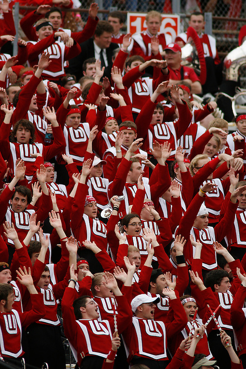 The University of Wisconsin band cheers during the Wisconsin Badgers 17-14 victory over the Arkansas Razorbacks in the Capital One Bowl at the Florida Citrus Bowl Stadium in Orlando, Florida on January 1, 2007.