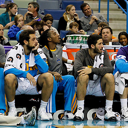 January 16, 2012; New Orleans, LA, USA; New Orleans Hornets players watch from the bench during the fourth quarter of a game against the Portland Trail Blazers at the New Orleans Arena. The Trail Blazers defeated the Hornets 84-77.  Mandatory Credit: Derick E. Hingle-US PRESSWIRE