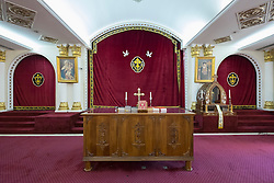 Interior altar of Mor Ignatius Jacobite Syrian Orthodox Church at Jebel Ali in Dubai United Arab Emirates